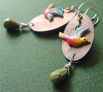 birds, copper, jewelry