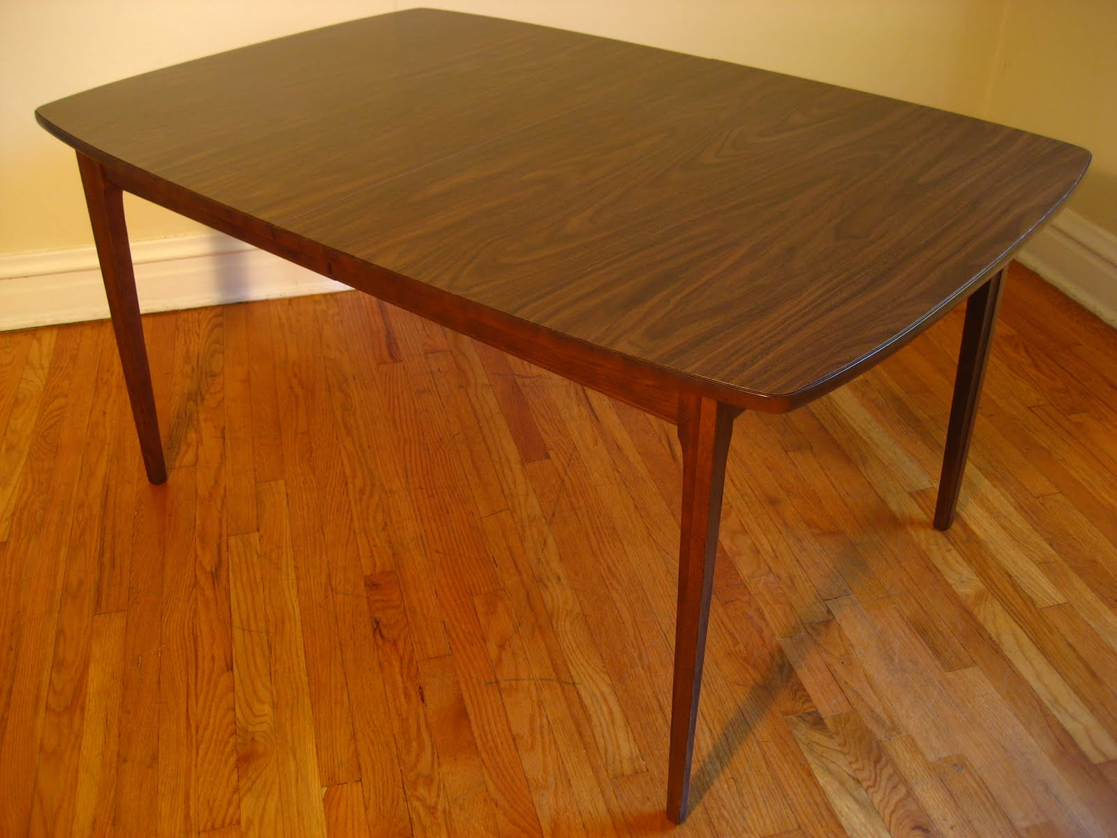 mcm dining table laminate kitchen table MCM Dining Table Dark Walnut Formica top