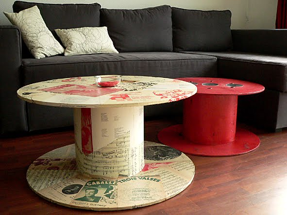 les dedees vintage recup creations table basse quand la bobine fait salon by ben. Black Bedroom Furniture Sets. Home Design Ideas