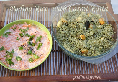 Pudina rice with Paneer-Mint Rice/Pulao