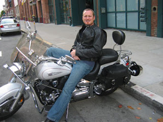 Jim Fanning, firefighter and his ride (motorcycle)