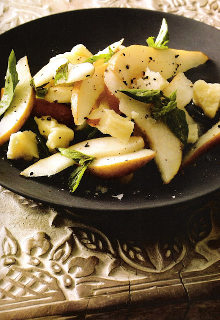Pear, Basil and Pecorino Toscano Salad via Olives and Oranges as seen on linenandlavender.net:  http://www.linenandlavender.net/2009/12/pear-basil-and-pecorino-toscano-salad.html