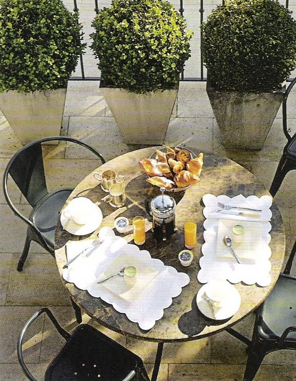 Continental breakfast for two via Côté Sud Magazine, edited by lb for linenandlavender.net - http://www.linenandlavender.net/2010/09/design-daily-morning-fare.html