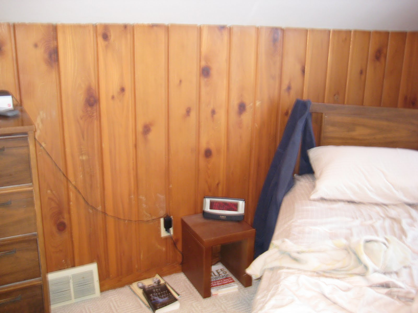 Painting Over Knotty Pine Paneling; Complete Master Bedroom Redo