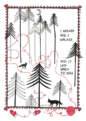 walked back to you forest and foxes greeting card