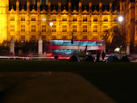 Brian Haw's camp outside Parliament (by night)