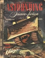 Cover image by Timmins of Astounding Science Fiction magazine, November 1944 issue. It illustrates the story Killdozer by Theodore Sturgeon.