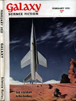 Cover of Galaxy Science Fiction magazine, Vol 1 No 5, February 1951 edition, by Chesley Bonestell illustrating the tying down of a spaceship on Mars in a desert sandstorm