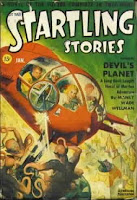 Cover Painting by Rudolph Belarslci of Startling Stories magazine, January 1942 issue. Cover illustrates the story Devils Planet by Manly Wade Wellman.