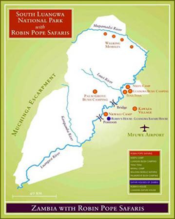 Mapa South Luangwa, Zambia