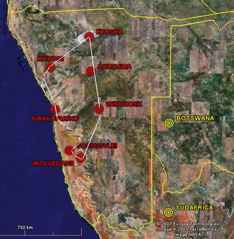 Mapa de Ruta en Namibia