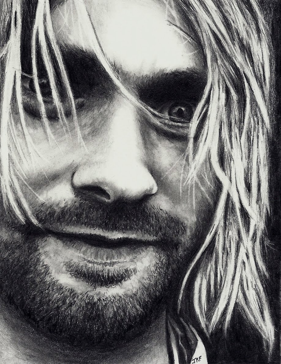 It is a graphic of Agile Drawing Of Kurt Cobain