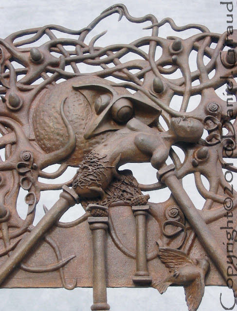 bas relief sculpté d'apres antonin artaud