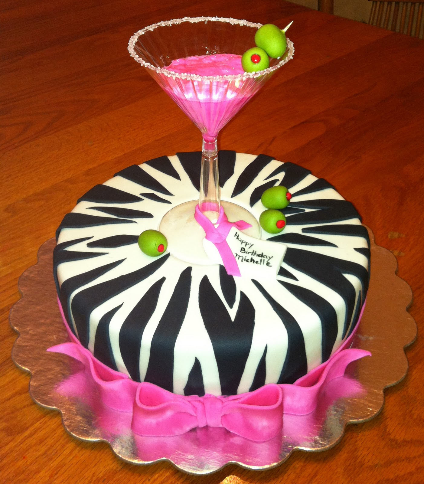 40th Birthday Cake (Martinis, Zebras And Such) On