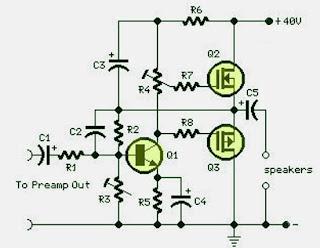 Electronics Circuits: 18 W MOSFET Amplifier Circuit