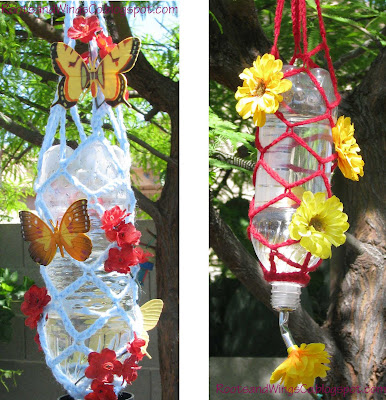 Crocheted Hummingbird Feeder with Recycled Products