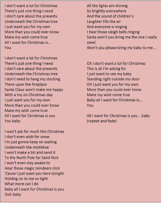 the english spot all i want for christmas is you - All I Want For Christmas Is You Mariah Carey Lyrics