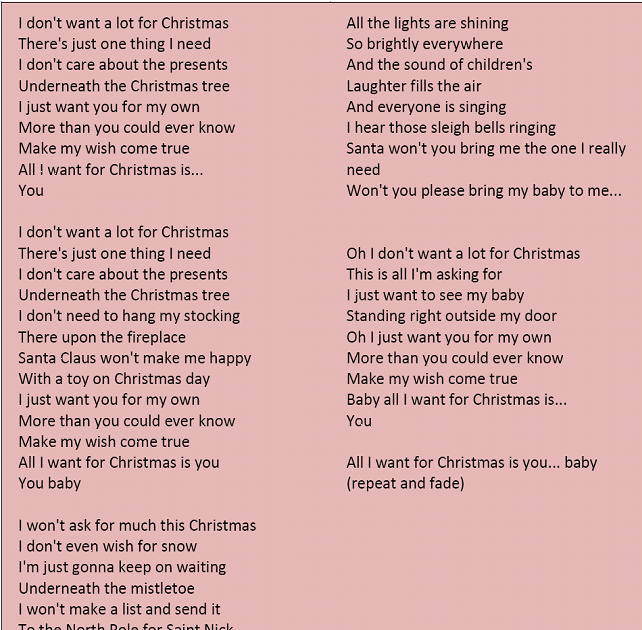 Lyrics All I Want For Christmas.The English Spot All I Want For Christmas Is You