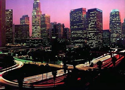 Los Angeles Freeways at Night, California