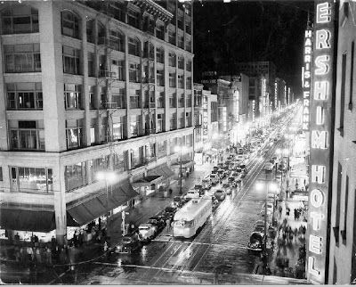 Downtown Los Angeles - Night Street View - 1940s (?)