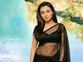Rani Mukherjee Hot Navel Show in Black Sari