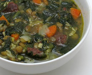 Lentil, sausage, and spinach soup