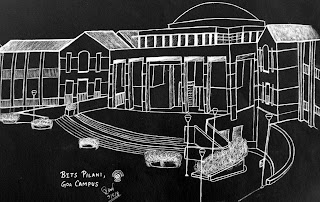 Sketch of BITS Pilani Goa Campus or BPGC by Rasagy Sharma aka RaSh