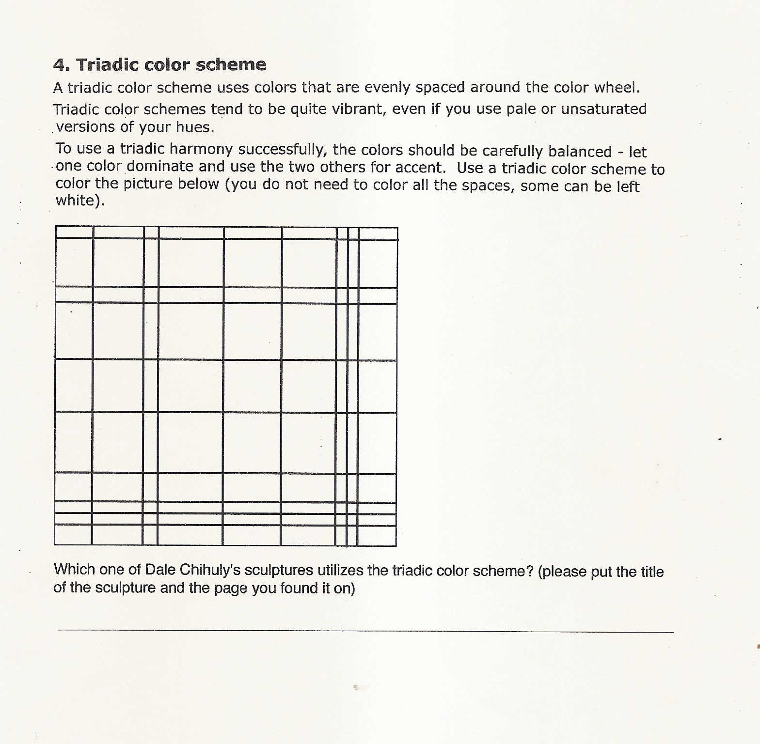 Handouts And Worksheets Color Schemes Handout