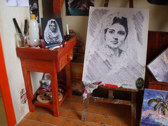 Foto original y cuadro reducidos a escala.Cuadro hecho por Pedro Boussinet Ruiz-Zorrilla