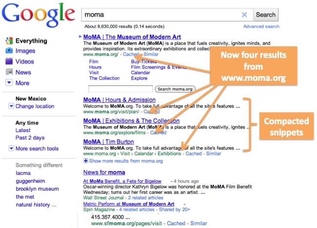 La requête 'moma' sur Google.com après la mise à jour : 4 résultats depuis moma.org