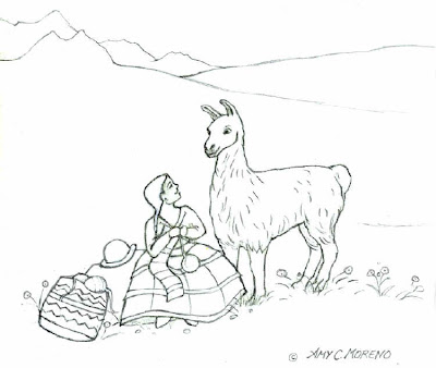 bolivian girl and llama coloring page