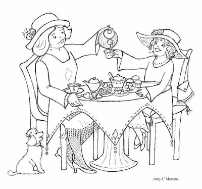 Color It In Tea Party Coloring Page