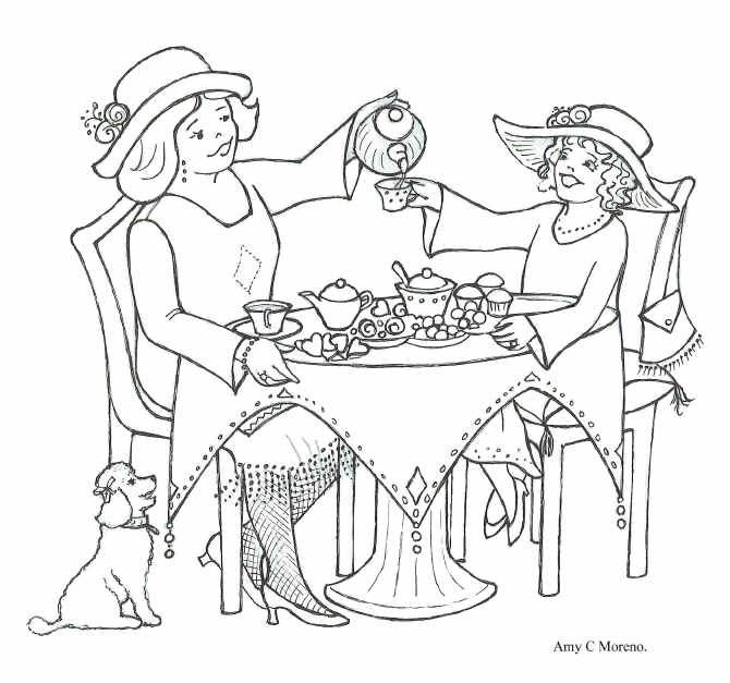tea party coloring pages free - photo#28
