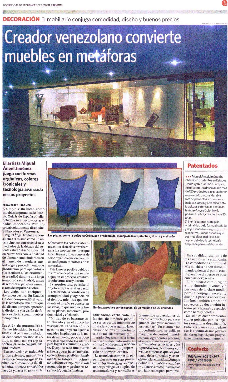Miguel ngel jim nez creador venezolano convierte muebles en met fora - Muebles miguel angel cadiz ...