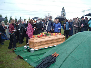 The graveside funeral, with Autumn's father Paul, Autumn's sister Bernadette, and Autumn's aunt and uncle, John & Suzie.