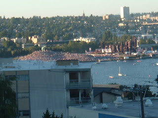 Crowd gathered at Gasworks Park to watch the Fireworks.  The rest of the crowd was on countless buildings around the lake, and countless boats in the lake.