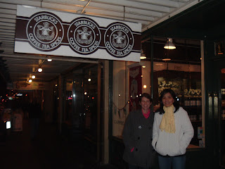The First Starbucks, with the original logo.