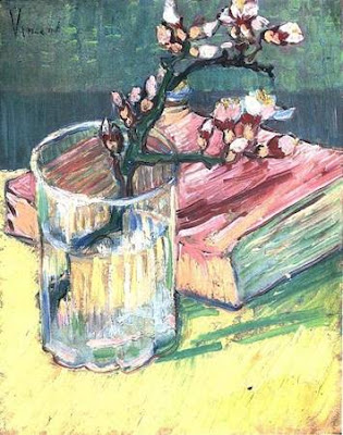 Van Gogh – Cartas a Théo I Blossoming+Almond+Branch+in+a+glass+with+a+book+Van+Gogh