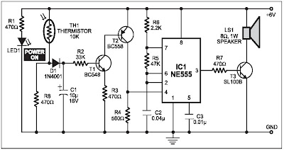 fire alarm using thermistor in this fire alarm circuit, a thermistorfire alarm using thermistor in this fire alarm circuit, a thermistor works as the heat sensor when temperature increases, its resistance decreases,