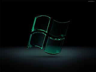 Zwart groene Windows logo achtergrond