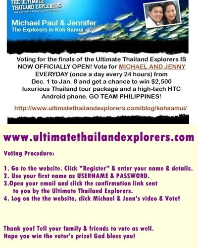 Help Make the Philippines No. 1 for the Ultimate Thailand Explorers!!!