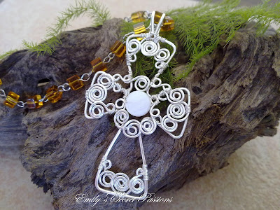 Swirly Wire Wrapped Cross Pendant by Emily