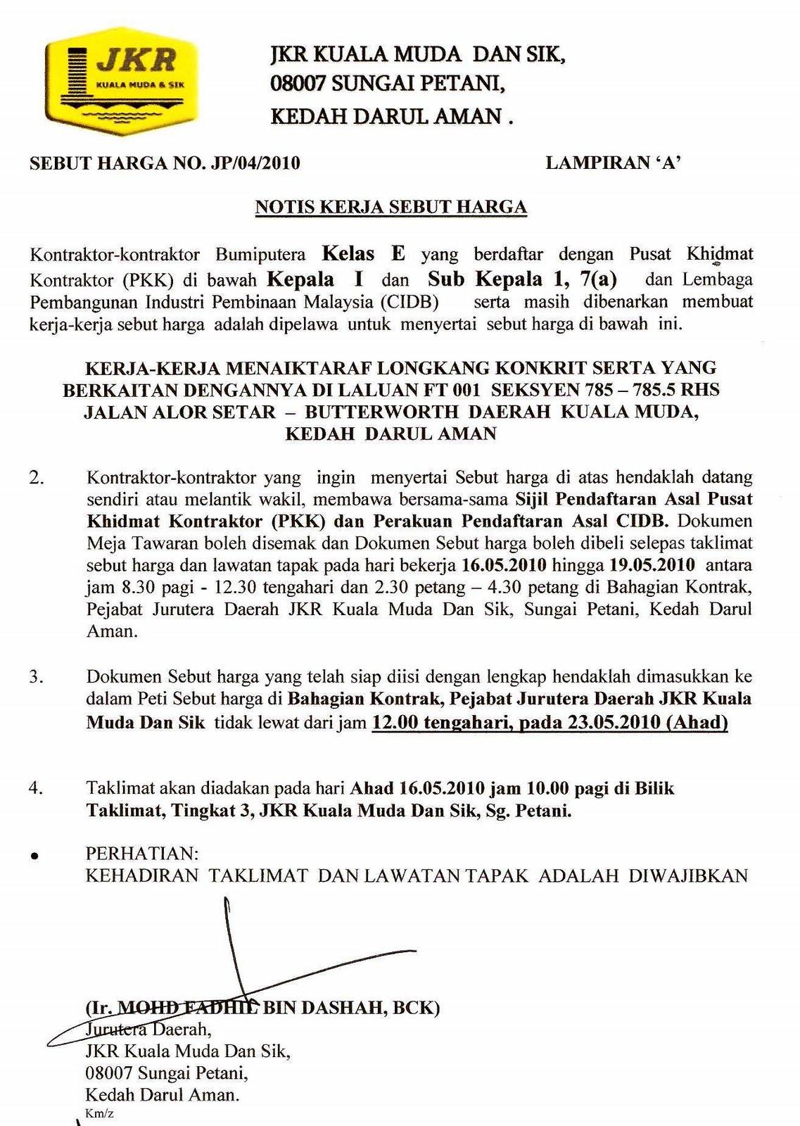 Jabatan Kerja Raya Daerah Kuala Muda Dan Sik Sebut Harga Untuk Kontraktor Kelas E