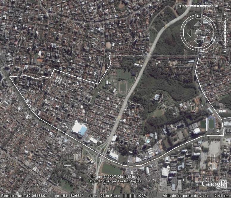Imagem do Earth Google com os limites físicos do Bairro