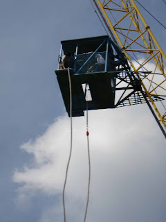 Taking the ride up the crane for the jump at 60m