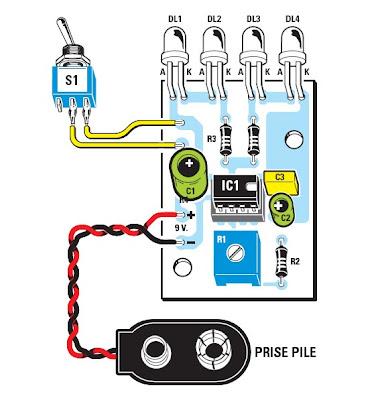 sh mas electroniques un double clignotant led base de circuit int gr ne555. Black Bedroom Furniture Sets. Home Design Ideas