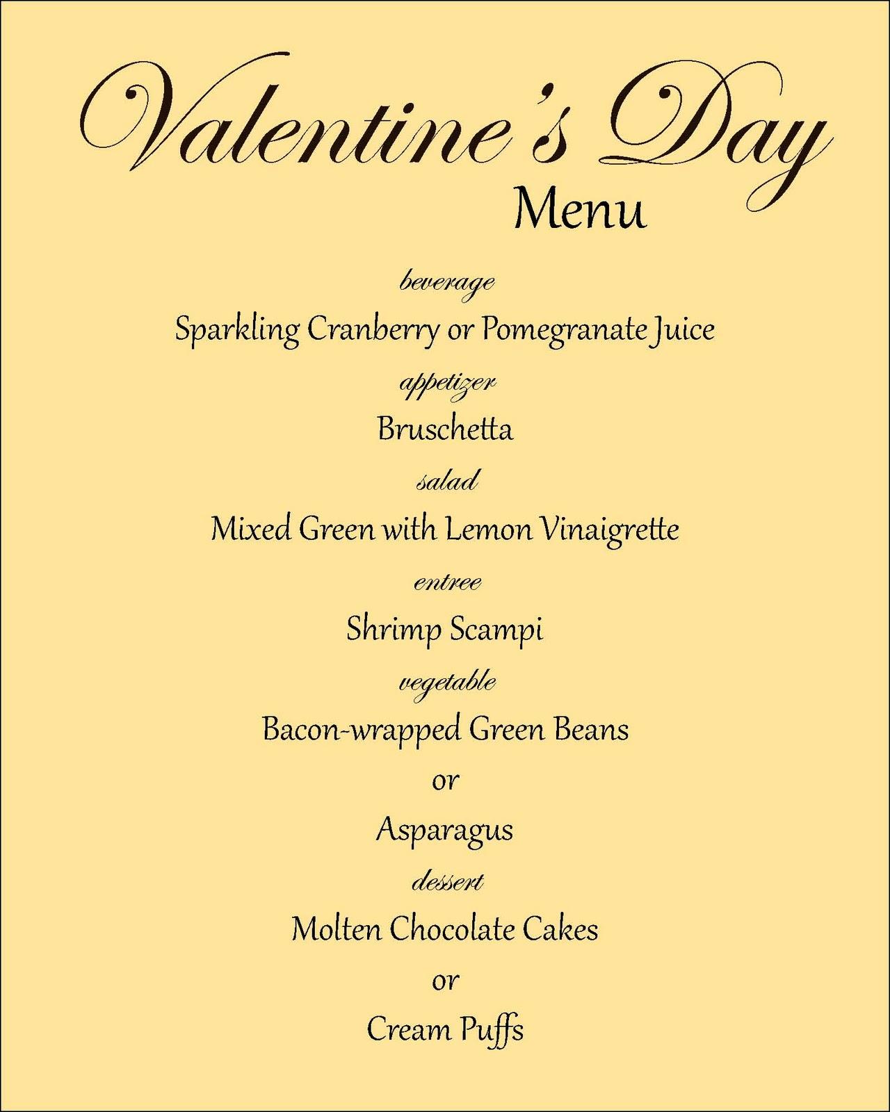 Everyday Art Valentine S Day Menu