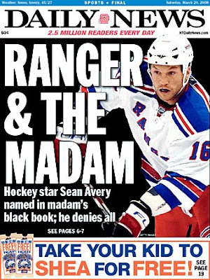 Sean Avery on frontpage of NY Daily News March 29th, 2008