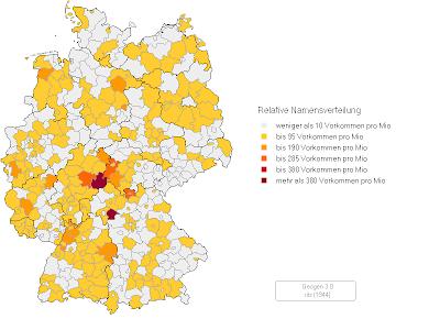 nachnamen karte Landkartenblog: Landkarte zeigt Verbreitung von Nachnamen in
