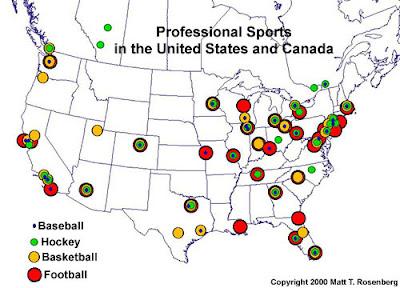 Landkartenblog: Wo existieren Vereine der NHL, NBA, MLB und ...
